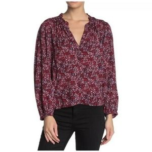 Abound Floral V Neck Puff Sleeve Blouse